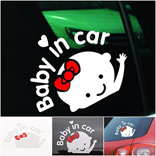 1 Pc Rousing Modern Baby In Car Sticker Truck Vinyl Window Decor Safety Signs Girl Style Colors White