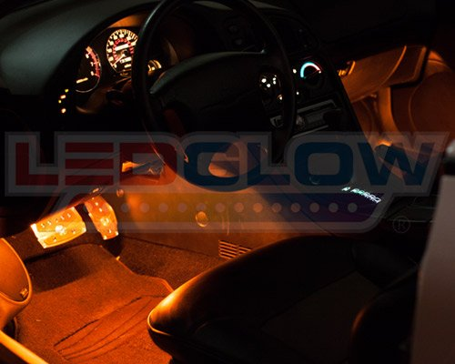 ledglow 4pc orange led interior underdash footwell accent car truck light kit 9 tubes 72 leds. Black Bedroom Furniture Sets. Home Design Ideas