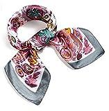 (ロージー)Rosy* 【ペイズリー柄 シルク風 スカーフ】お洒落 正方形 ツイリー バッグ シュシュ ヘッドドレス ベルト ブレスレット 巻き方 アレンジ自由 トレンド (グレー)