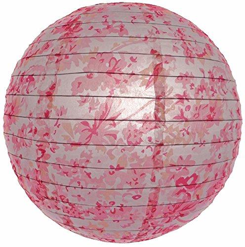 """WeGlow International 14"""" Pink Sakura Pattern Paper Lantern (Set of 2) - 1"""