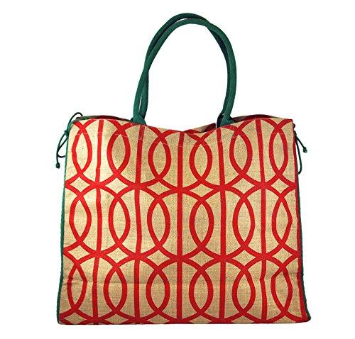 Mud Pie Southern Christmas Women's Jute Mistletote Tote Bag Red Lattice (Mud Pie Weekender Bag compare prices)
