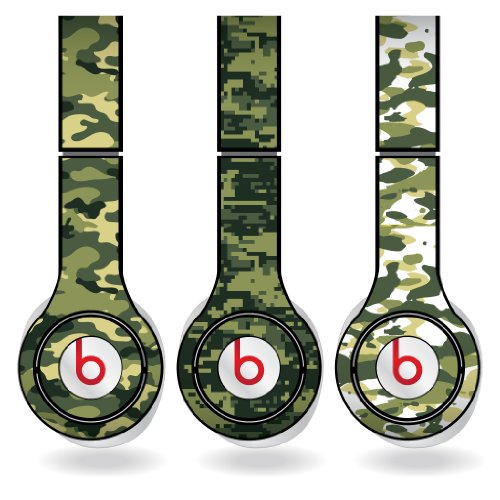 Green Military Camouflage Print Set Of 3 Headphone Skins For Beats Solo Hd Headphones - Removable Vinyl Decal!
