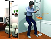 Standers Security Pole And Curved Grab Bar Black