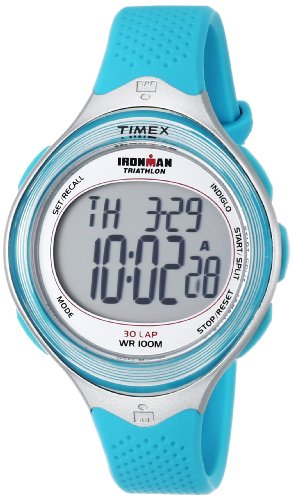 Timex Women's T5K602 Ironman Classic 30 Mid-Size Sea Blue Resin Strap Watch (Iron Man Woman compare prices)