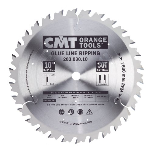 CMT 203.030.10 Industrial Glue Line Ripping Saw Blade, 10-Inch x 30 30 Teeth FTG+1TCG Grind, 5/8-Inch Bore