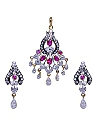 Gehna Cubic Zircon & Pink Tourmaline Studded Pendant & Earring Set With Black Rhodium