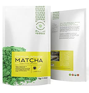 Greenhouse Superfoods :: Top Tasting Japan Organic Matcha for 200 Yrs :: Ceremonial Green Tea Powder :: 5% Donated to Cancer Cure Research :: 35g Bonus Size :: 120% Money Back Guarantee