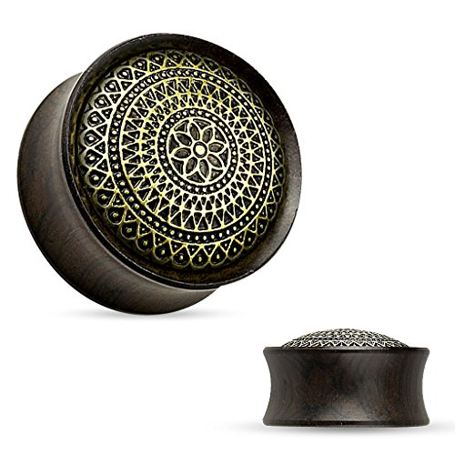 Piercingfaktor-Flesh-Plug-Tunnel-Organic-Ohr-Sattel-Piercing-Ebenholz-Schwarz-Gitter-Muster-Blume-10mm