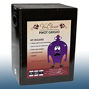 Home Brew & Wine Making - VinClasse® Pinot Grigio White Wine 7 Day Ingredient Kit For 30 Bottles