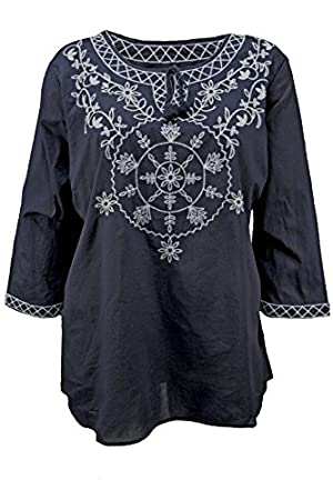 Plus Embroidered Keyhole Crew Neckline Peasant Top in Navy, Size 2x