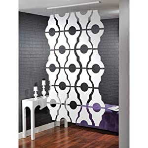 Hanging Room Divider Panel Screen Geometric Pattern in White