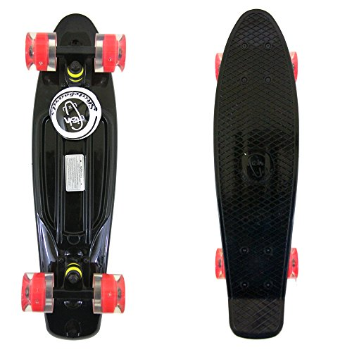 Black Fish Skateboard Plastic Retro Blank Cruiser Black Trucks Red Led Wheels