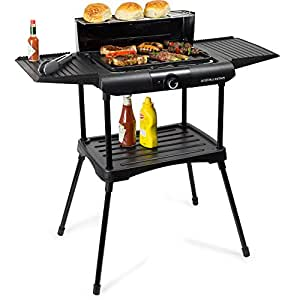 Andrew James Black Deluxe Electric Indoor / Outdoor BBQ With Stand, Ideal For Use All Year Round