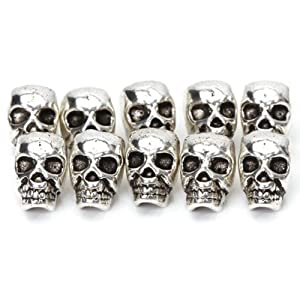 Approx. 10pcs Tibet Silver Skull Spacer Beads---Great DIY Accessories for Necklace, Bracelets and Earrings Making