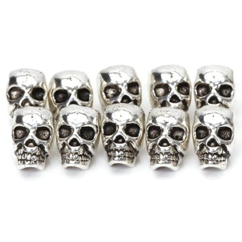 Approx. 10pcs Tibet Silver Skull Spacer Beads—Great DIY Accessories for Necklace, Bracelets and Earrings Making