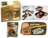 Jeli Deli Stationary Pack plus Soft Toy (Cheeky Monkey Urban Jungle Stationary Set & Large Pencil Case plus Pirhana Sticker Wheel (With Cheeky Monkey - Brown colour)