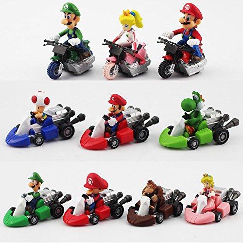 New Cute Super Mario Bros Kart Pull Back Car Motorcycle PVC 10pcs/set 3-5cm Action Figure Toys Brithday Gift