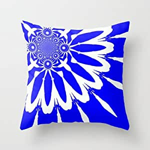 Royal Blue And White Throw Pillows : Amazon.com - Society6 - Royal Blue & White Modern Flower Throw Pillow by 2sweet4words Designs