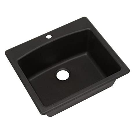 "Fhp Esox25229-1 25"" X 22"" X 9"" Black Composite Granite Top Mount Sink"