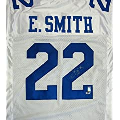 Emmitt Smith Autographed Dallas Cowboys White Jersey PSA DNA