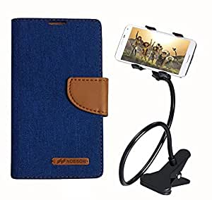 Aart Fancy Wallet Dairy Jeans Flip Case Cover for Apple4G (Blue) + 360 Rotating Bed Moblie Phone Holder Universal Car Holder Stand Lazy Bed Desktop by Aart store.
