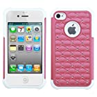 Asmyna Hybrid Luxurious Lattice Dazzling with Some Rhinestones Total Defense Protector Cover for Apple iPhone 4/4S - Retail Packaging - Pink/Solid White