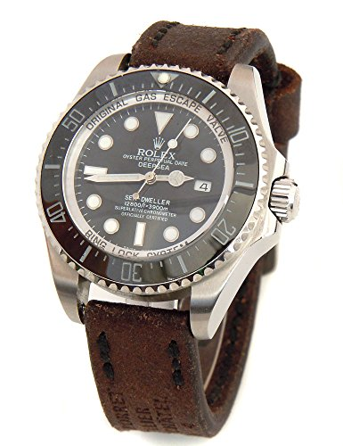 Potter Handmade Vintage Style Ammo 20Mm Leather Watch Strap Black Stitching For Rolex Deepsea