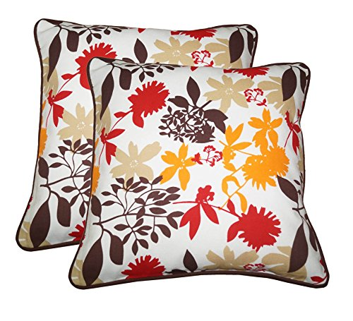 Lushomes Leaf Print Cotton Cushion Covers (Size 16