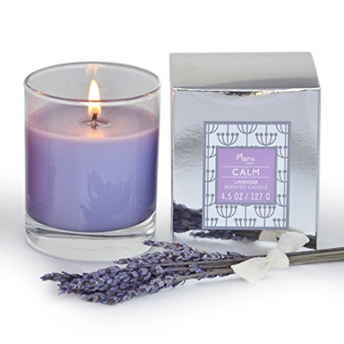 Manu Home® CALM Lavender Scented Aromatherapy Candle ~ Made with Quality Aromatherapy Oils for Relaxation ~ Great for Any Home Décor ~ Great Valentine's Day Gift!! Natural Wax blend ~ Unique and Amazing Smelling Spa Candles ~ Perfect As a Gift, or for Your Own Home ~ 4.5 oz Made in USA.