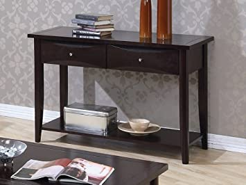Modern Style Sofa Table With Two Storage Drawers And Storage Shelf In Cappuccino Finish. (Item# Vista Furniture CF700969)
