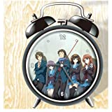 XINGQU Suzumiya Haruhi No Yuuutu Anime Colorful Design Twin Bell Alarm Clock, Black