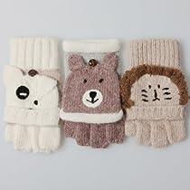 Elma Ladies Winter Warm Wool Gloves with Fold Back Pocket Animal Carton Fingerless Mittens (One size, Dog)