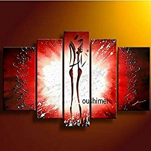 Amazon.com: FF FlowerHand-painted 5 pes/set Wall Art Red Abstract Oil