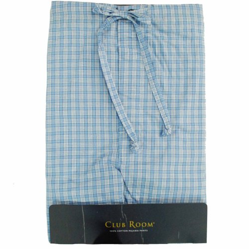 Club Room Pajamas, Fashion Cotton Pants Blue Check S