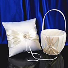 buy Topwedding White Satin Wedding Flower Girl Basket And Ring Pillow Set With Rhinestones