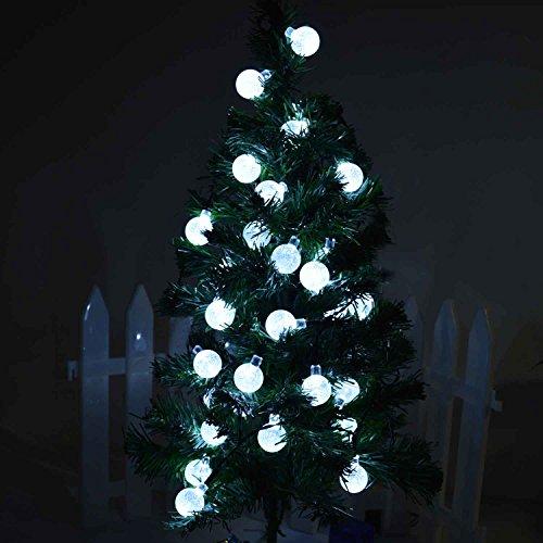 Led String Lights Home Hardware : lederTEK Solar Outdoor String Lights 20ft 30 LED White Crystal Ball Solar Powered Globe Fairy ...