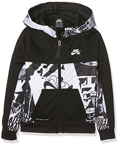 Nike SB Print Blocked TF Full Zip, Cappuccio Bambino, Nero (Black), Large (Taglia Produttore: 12-13Y)