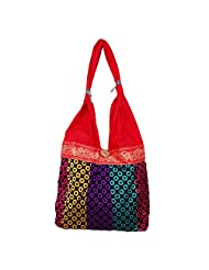 Womaniya Canvas Red Handbag For Women(Size-32 Cm X 32 Cm X 10 Cm) - B00SJ1JUZS