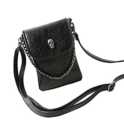 Studded Skull Gothic Crossbody Shoulder Bag Travel Leather Tote Handbag Purse