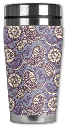Mugzie Paisley Travel Mug with Insulated Wetsuit Cover, 16 oz, Lavender (Paisley Coffee Mug compare prices)