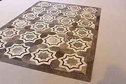 Handmade Natural Cowhide Leather Rug - Grey Stars (5\'x8\' (150cm x 240cm) L Area Rug)