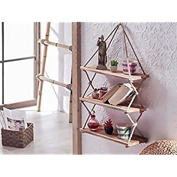 Decorative Wooden Hanging Shelf with Rope, Bookcase, Bookshelf Decor Resin Ornament