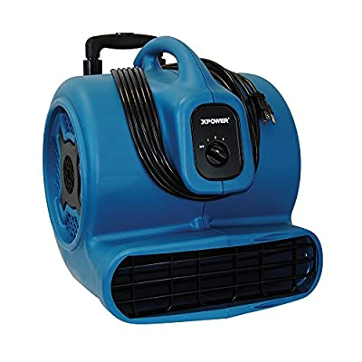 XPOWER P-830H 1-HP 1600-CFM 3 Speed Professional Air Mover with Telescopic Handle and Wheels, 8.5-Amp