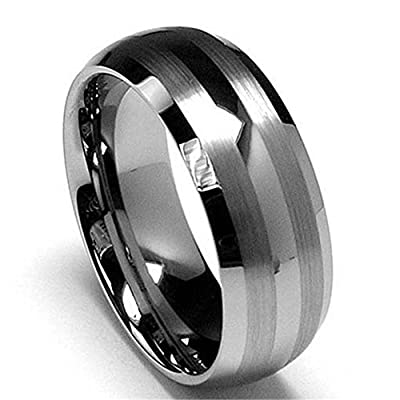 King Will 8mm Men's Wedding Engagement Band Tungsten Carbide Ring Two Tone Matte/Brushed Finish Lines