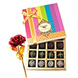 Valentine Chocholik's Belgium Chocolates - Delicious Assortment Of Truffles With 24k Red Gold Rose