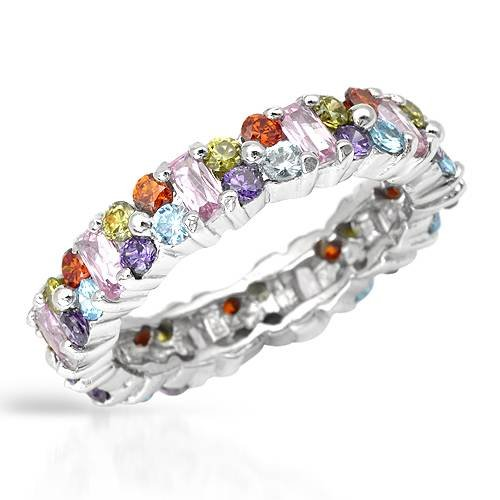 Eternity Ring With 6.90ctw Cubic zirconia Beautifully Designed in 925 Sterling silver. Total item weight 5.3g (Size 4.5)