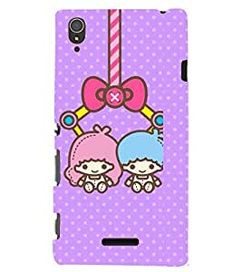 Printvisa two animated girls hanging Back Case Cover for Sony Xperia T3