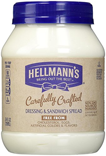Vegan mayonnaise brands: Hellmann's Carefully Crafted Dressing and Sandwich Spread