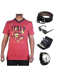 Garushi Red T-Shirt With Watch Belt Sunglasses Cardholder - B00YMKY6JA