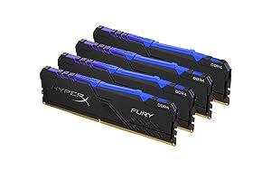 HyperX Fury 64GB 3466MHz DDR4 CL16 DIMM (Kit of 4) RGB (Tamaño: 64GB kit (4 x 16GB))